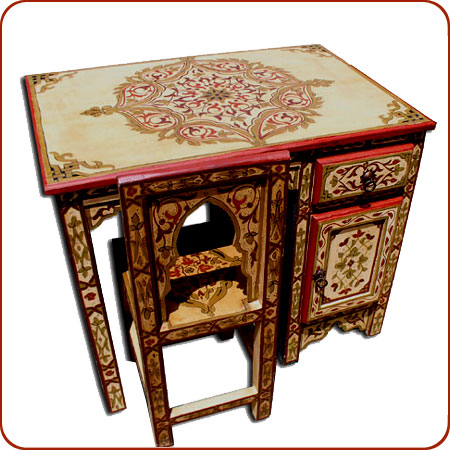 Moroccan Furniture Painted Desk With Chair