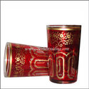 Bahia Moroccan Tea Glasses - Red