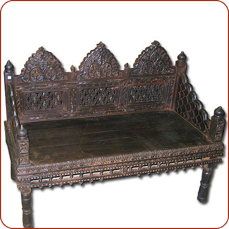Carved Bench Asian Bench Indian Bench Mogul Furniture